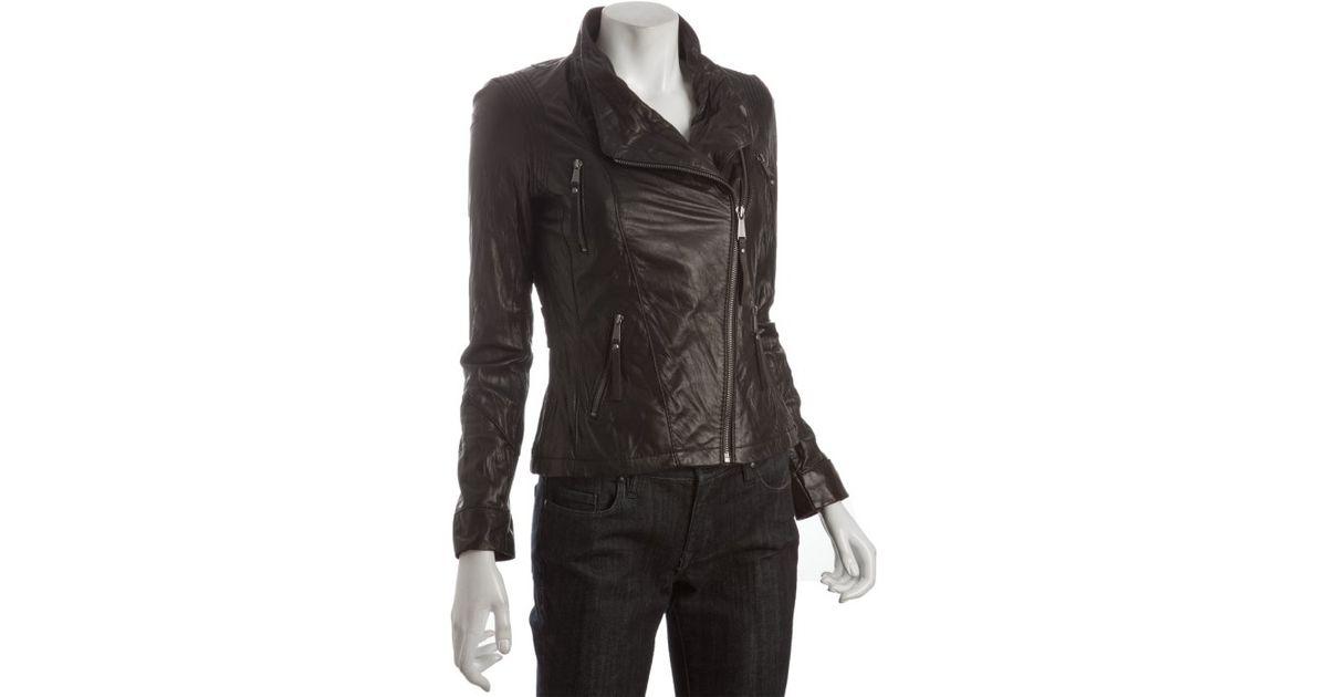 2d4daf851 Michael Michael Kors Black Asymmetrical Zip Leather Moto Jacket in ...