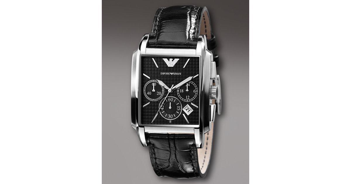 Emporio Armani Square Chronograph Watch Black For Men Lyst