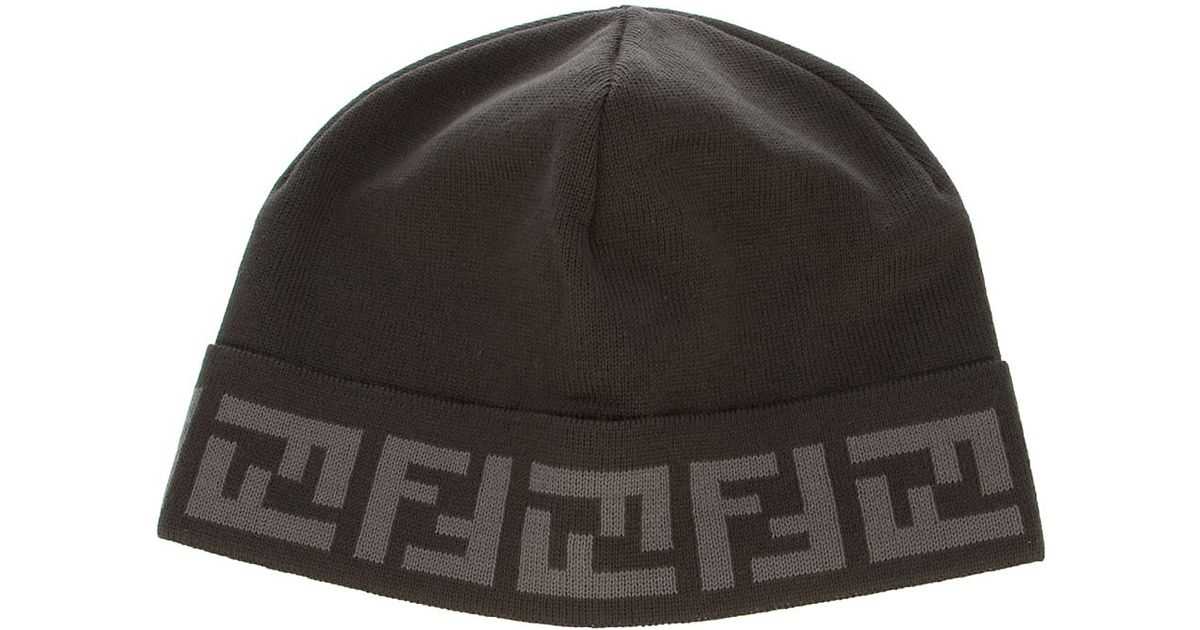 f16b7a5669e Fendi Monogram Hat in Gray for Men - Lyst