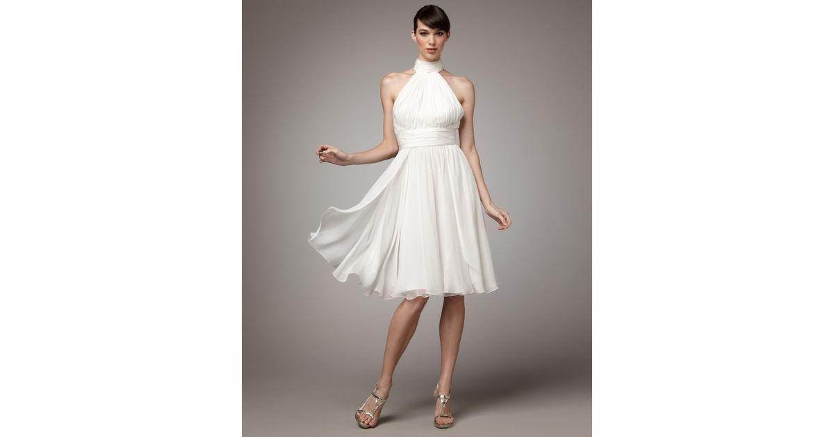 Badgley Mischka Halter Cocktail Dress In White