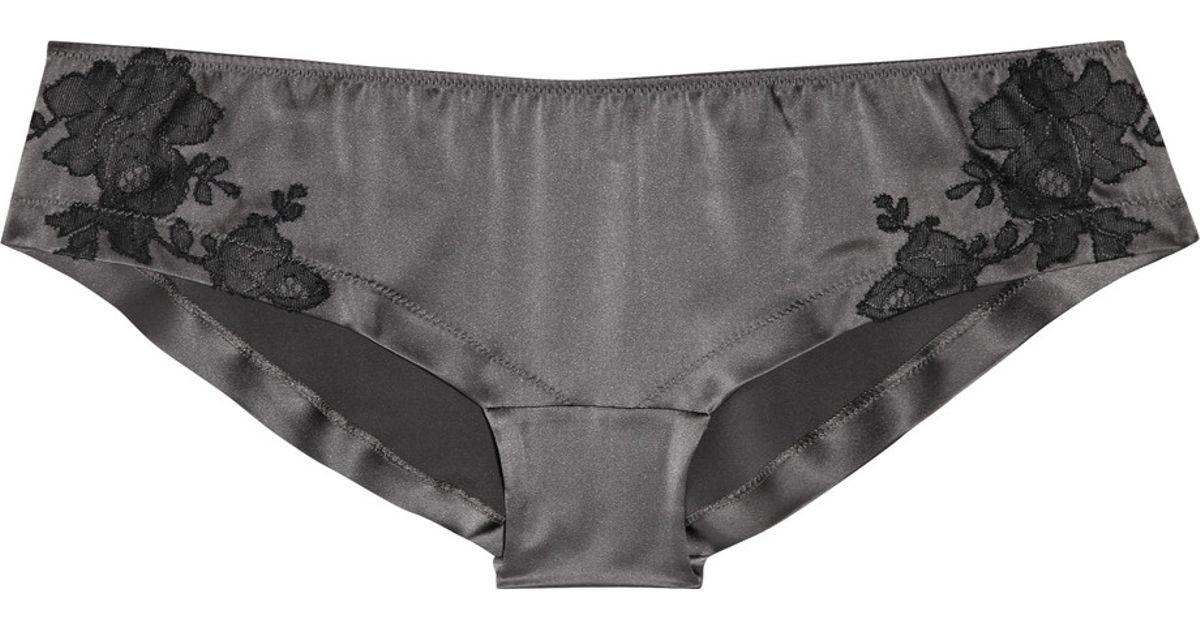 67e7953cf992 Carine Gilson Lace-appliquéd Silk-satin Boy Shorts in Gray - Lyst
