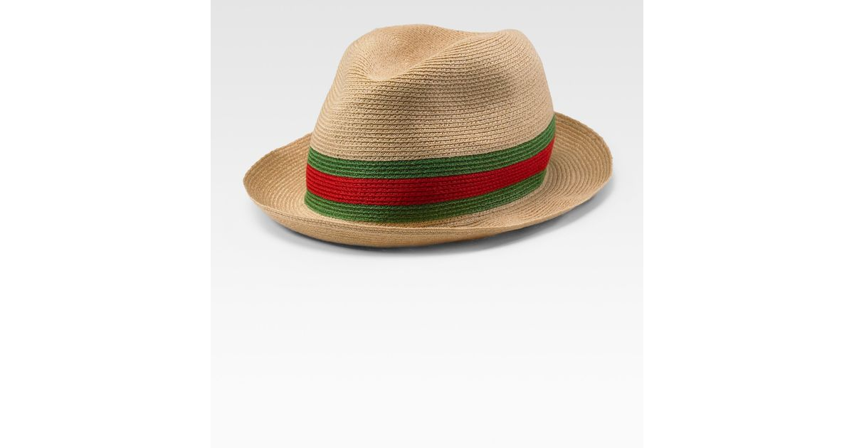 5c18f91a562020 Lyst - Gucci Straw Fedora in Natural for Men