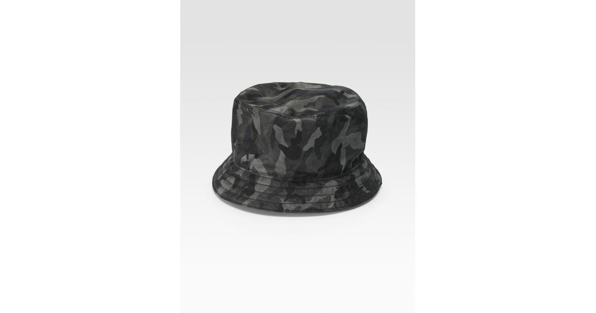 Lyst - Prada Tessuto Nylon Bucket Hat in Gray for Men acb6f281a8e