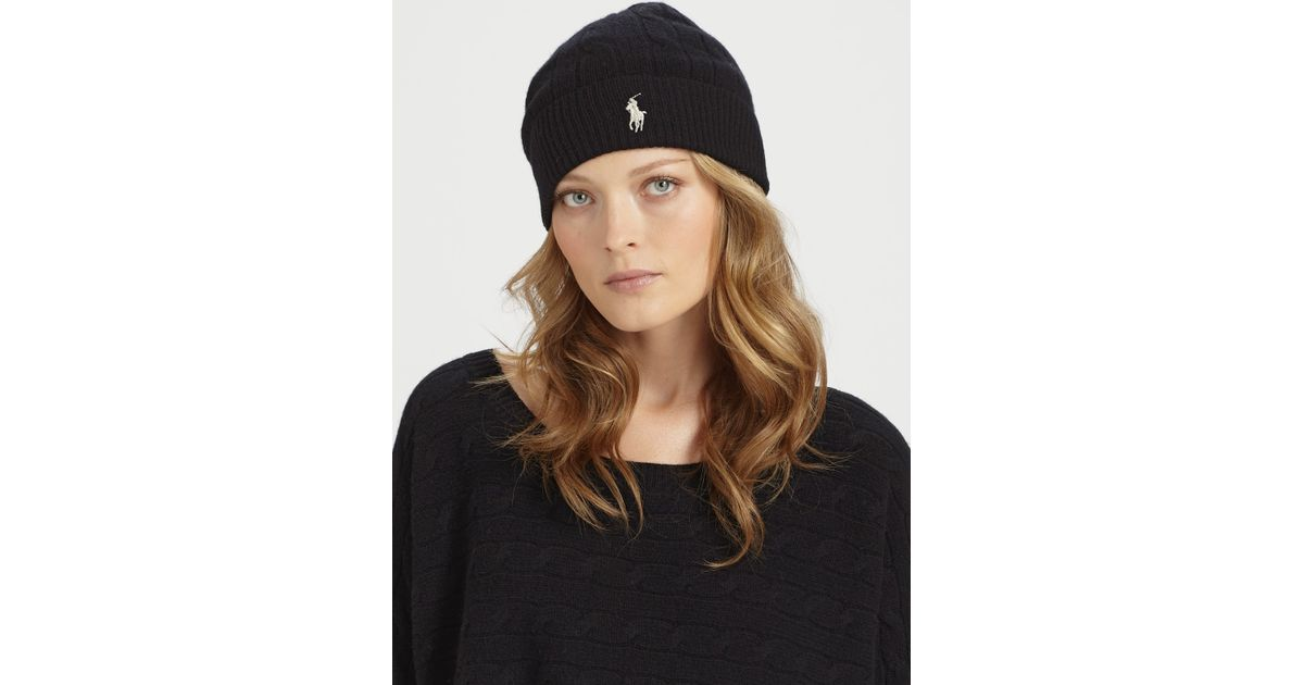 230f9cd05 Ralph Lauren Blue Label Black Wool/cashmere Cable-knit Hat