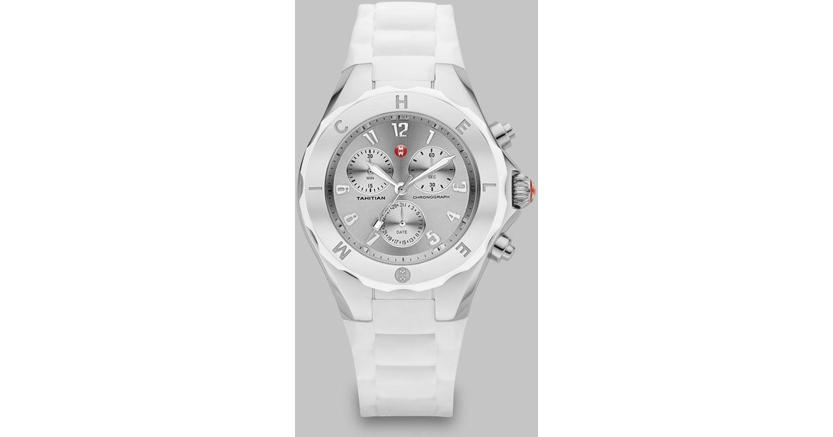 80316ce8d Michele Watches Tahitian Jelly Bean Stainless Steel And Silicone Chronograph  Bracelet Watch in White - Lyst