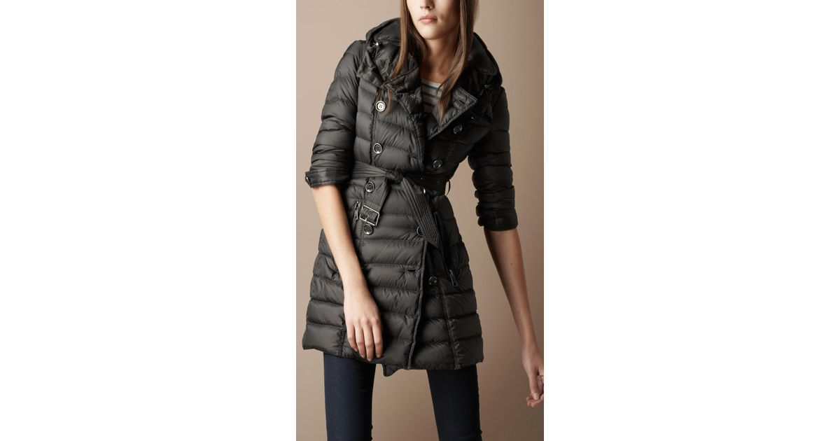 Burberry brit Quilted Trench Coat in Gray | Lyst : burberry quilted trench - Adamdwight.com