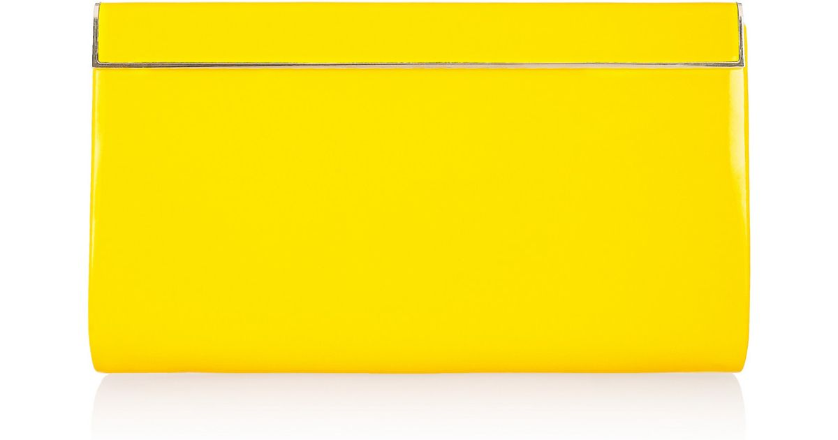 0a487cb241 Lyst - Jimmy Choo Cayla Patent-leather Clutch in Yellow