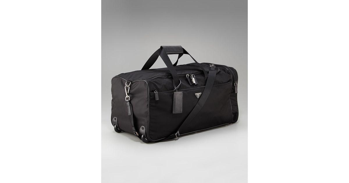 Prada Rolling Nylon Duffel Bag in Black for Men | Lyst