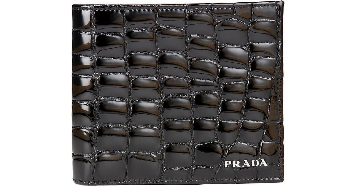 b3a39f24e8699b Prada Croc-embossed Wallet in Black for Men - Lyst