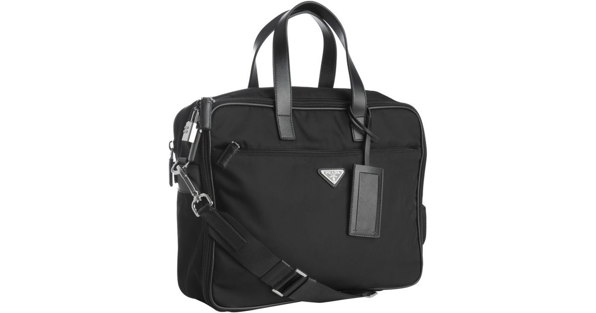 a8e56dfe497f ... where can i buy lyst prada black nylon laptop travel bag in black for  men 79f98