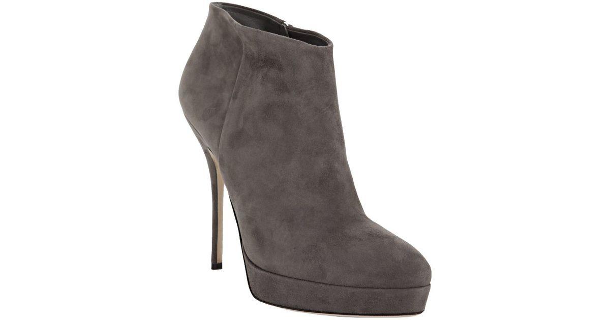 1b294344b929 Lyst - Gucci Grey Suede Sophia Platform Bootie in Gray