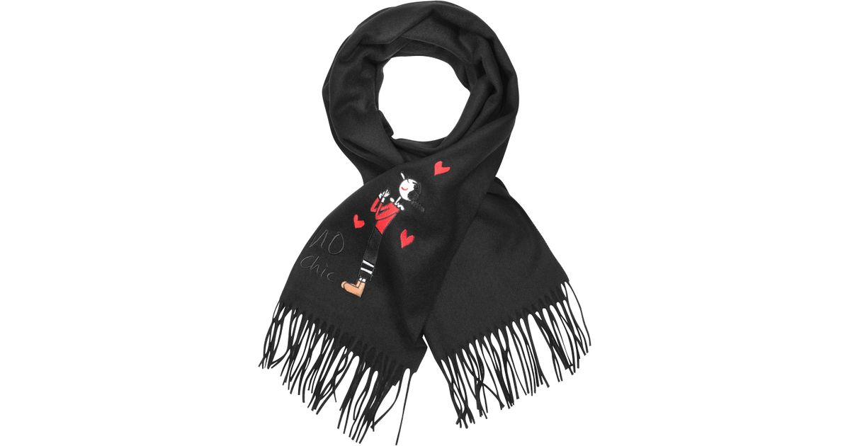 26c9bf77e7 Moschino Olive Oil Black Wool Scarf in Black - Lyst
