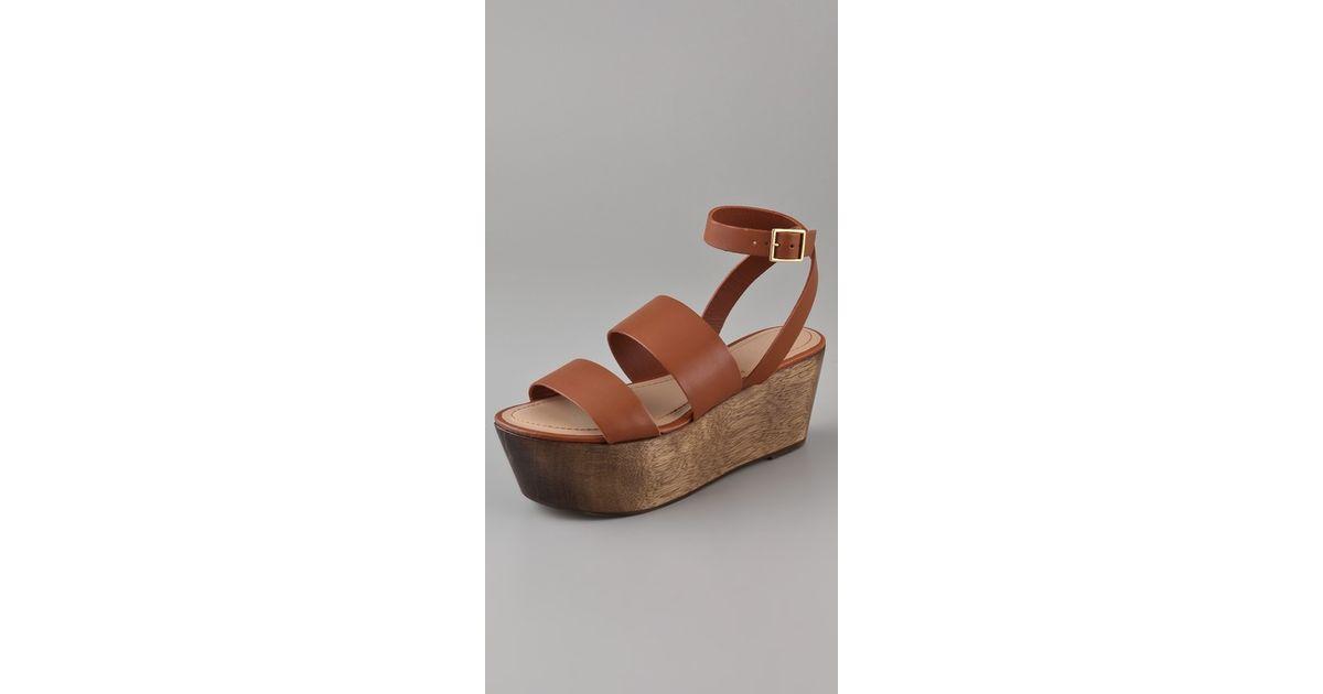 650eae545 Lyst - Elizabeth and James Bax Flatform Wedge Sandals in Brown