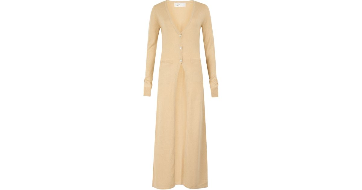 Madeleine thompson Beige Daisy Maxi Cardigan in Natural | Lyst