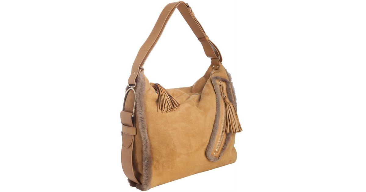 Jimmy Choo - Brown Carmel Suede Lily Shearling Trimmed Hobo - Lyst b183430efbe5c