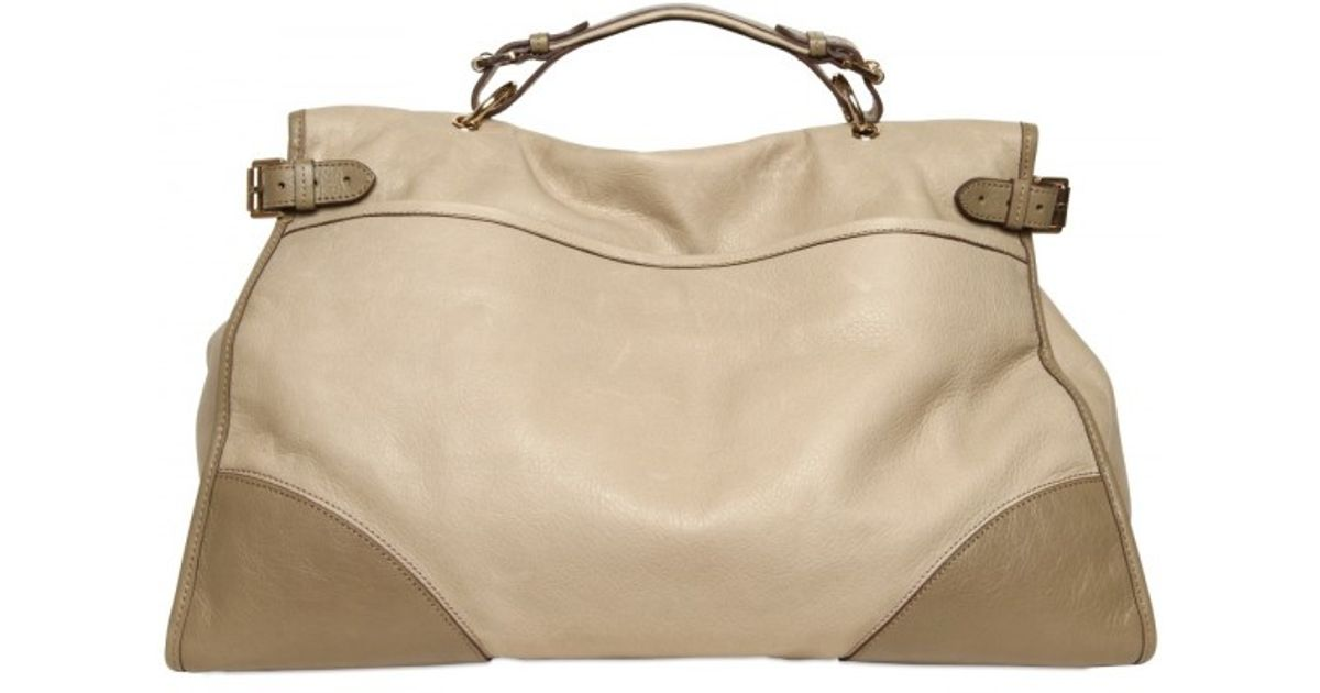 04c3523ebb ... official store lyst mulberry oversized taylor soft leather satchel in  natural f80d9 7bf96