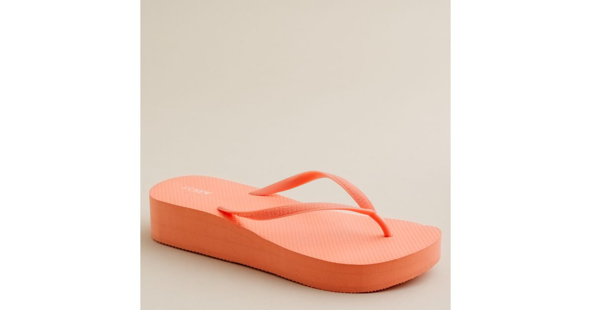 454171f4e Lyst - J.Crew Skinny Wedge Flip-flops in Orange