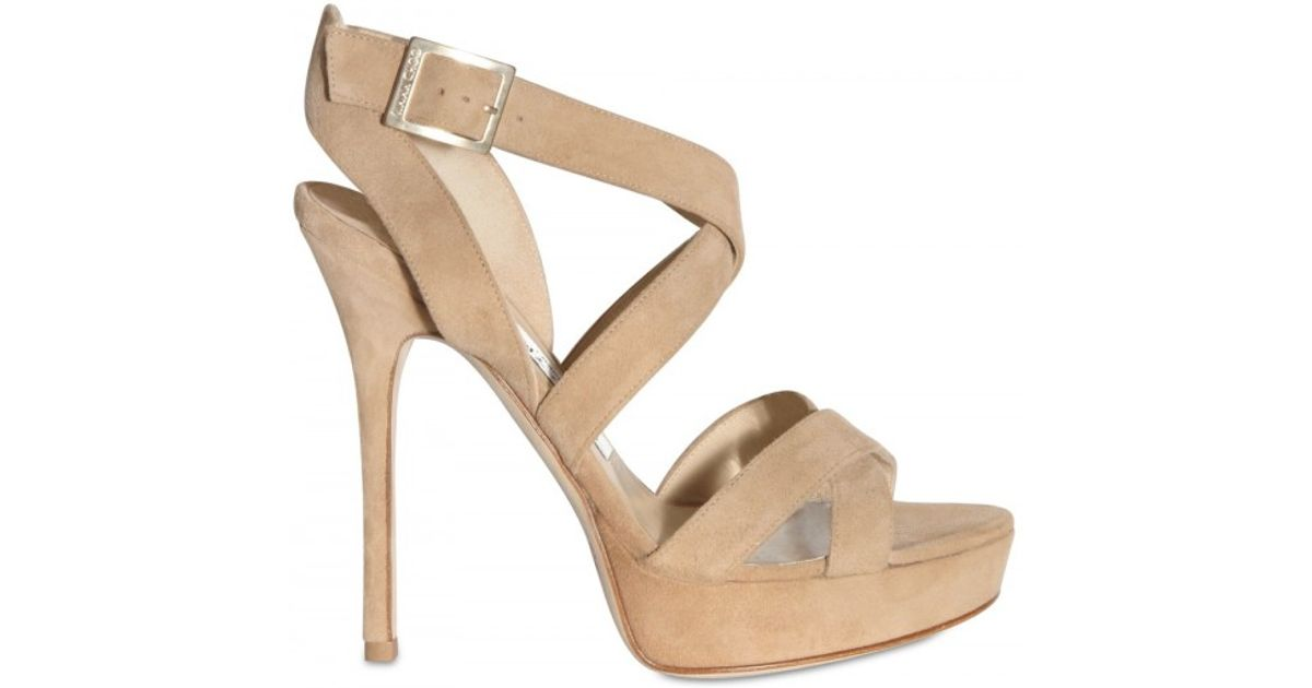 3f854b2ccf65 Lyst - Jimmy Choo 120mm Vamp Suede Cross Over Sandals in Natural