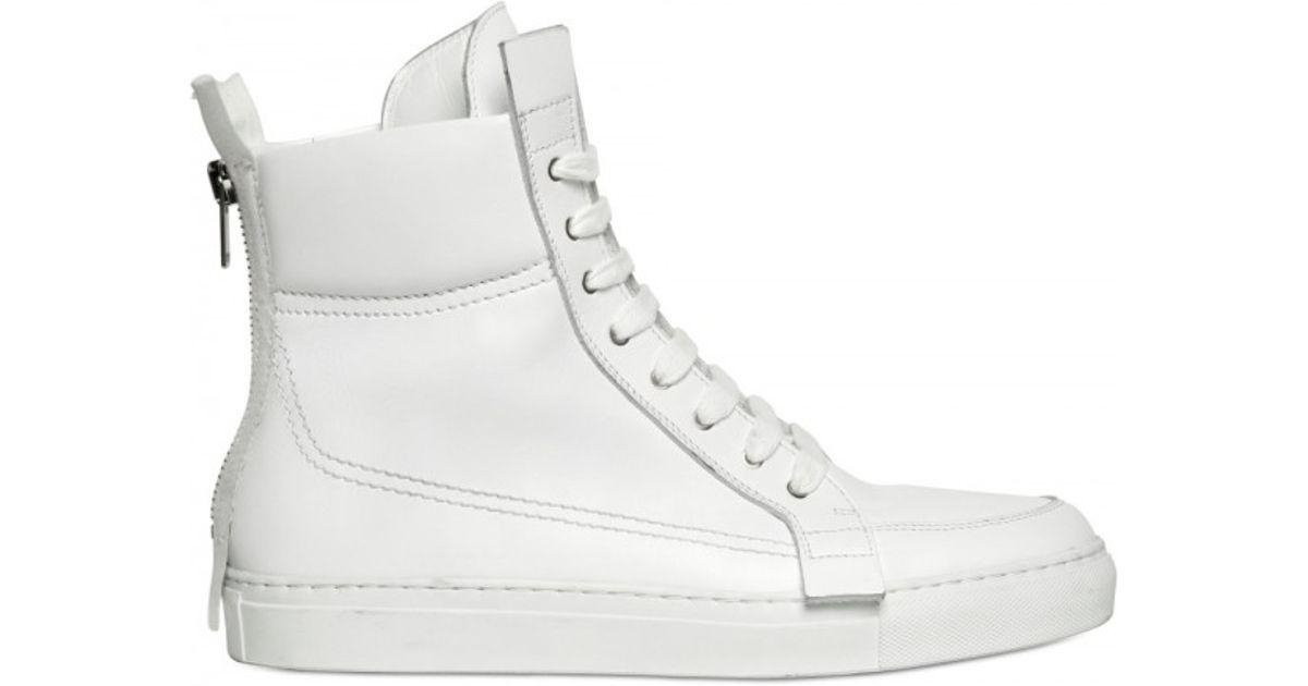 Lyst - Kris Van Assche Back Zip Calfskin Sneakers in White for Men 7b0a83eda