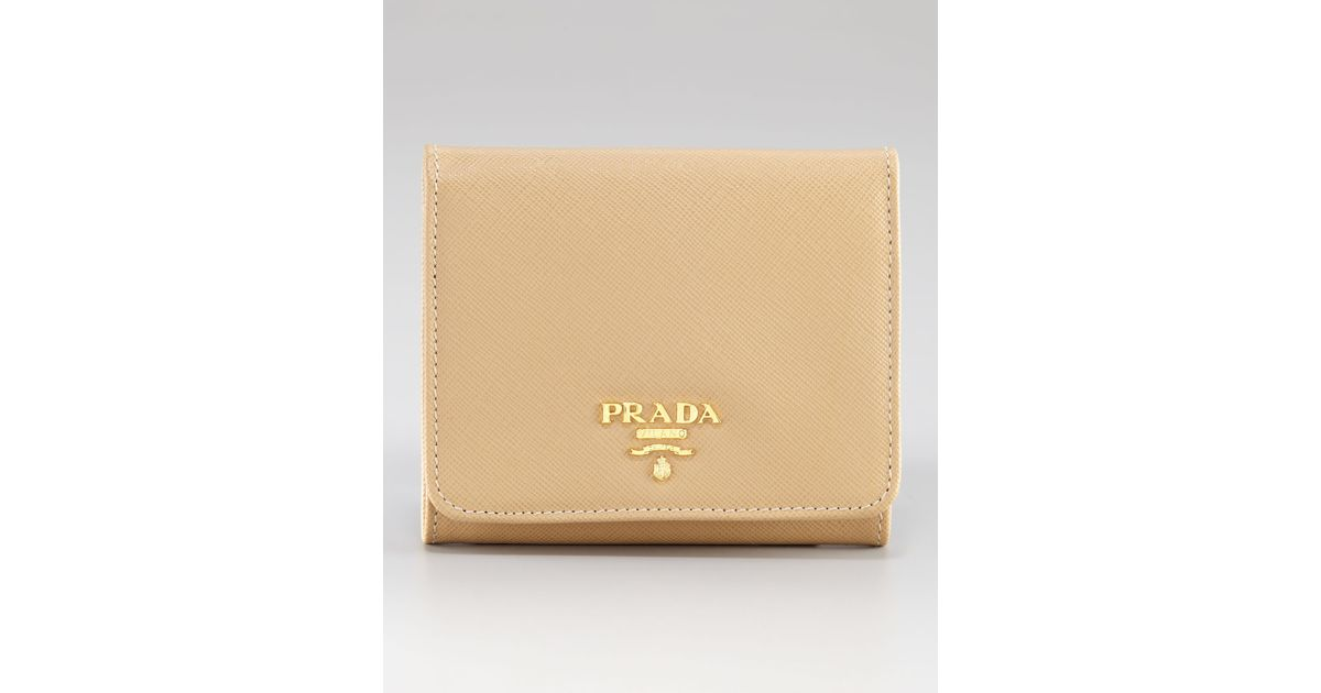56015b42182b7 Lyst - Prada Small French Coin Wallet in Natural