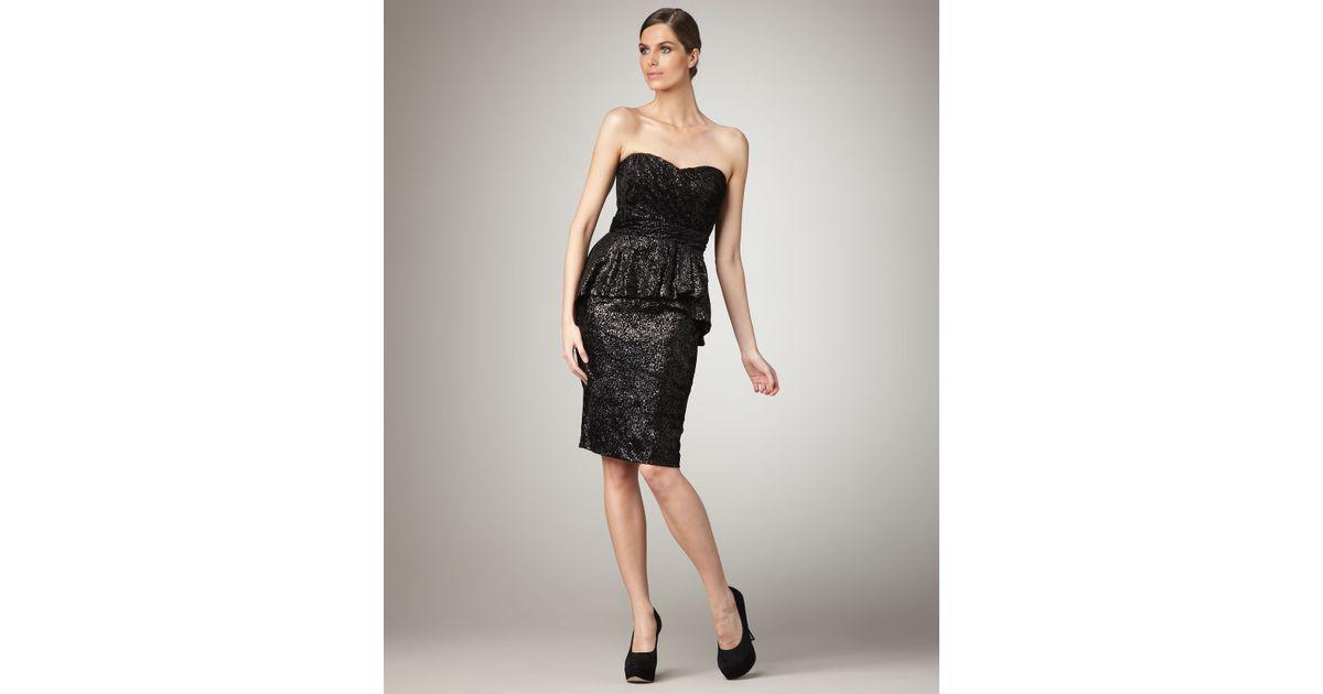 Badgley Mischka Black Strapless Peplum Cocktail Dress