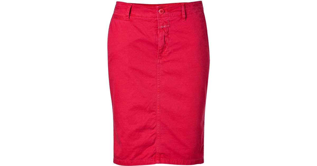 Closed True Red Denim Skirt in Red | Lyst