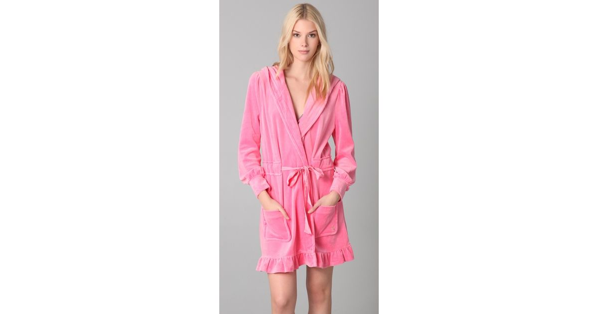 a0fff7e713 Juicy Couture - Pink Velour Robe - Lyst