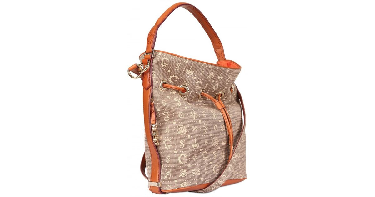 lyst lancel dali gala monogram canvas shoulder bag in brown