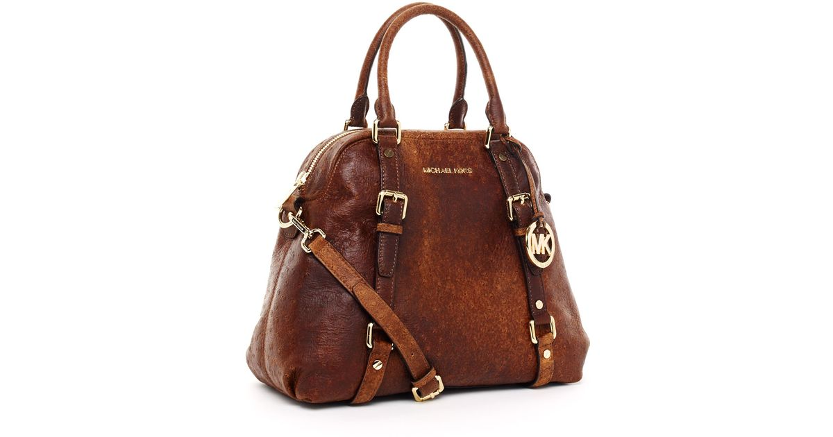 Michael Kors Brown Large Bedford Bowling Satchel