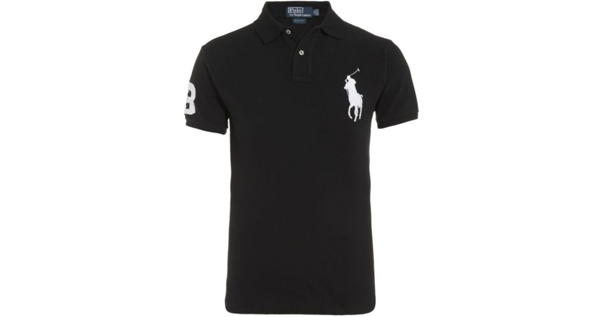 Polo ralph lauren Slim Fit Big Pony Polo Shirt in Black for Men | Lyst