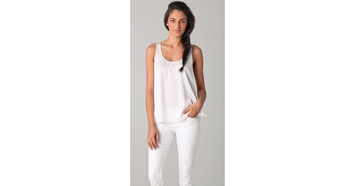 5b03a0e62125e6 Lyst - Vince Silk Tank in White