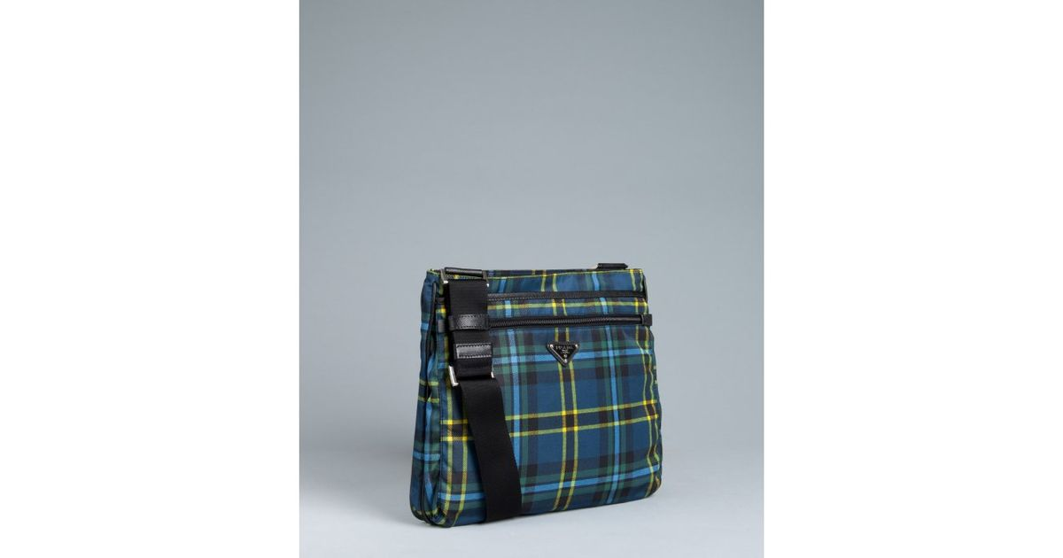 Prada Blue Plaid Nylon Zip Messenger Bag in Blue for Men | Lyst