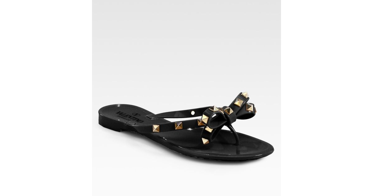 sneakers for cheap multiple colors utterly stylish Valentino Black Rockstud Studded Thong Bow Jelly Flip Flops