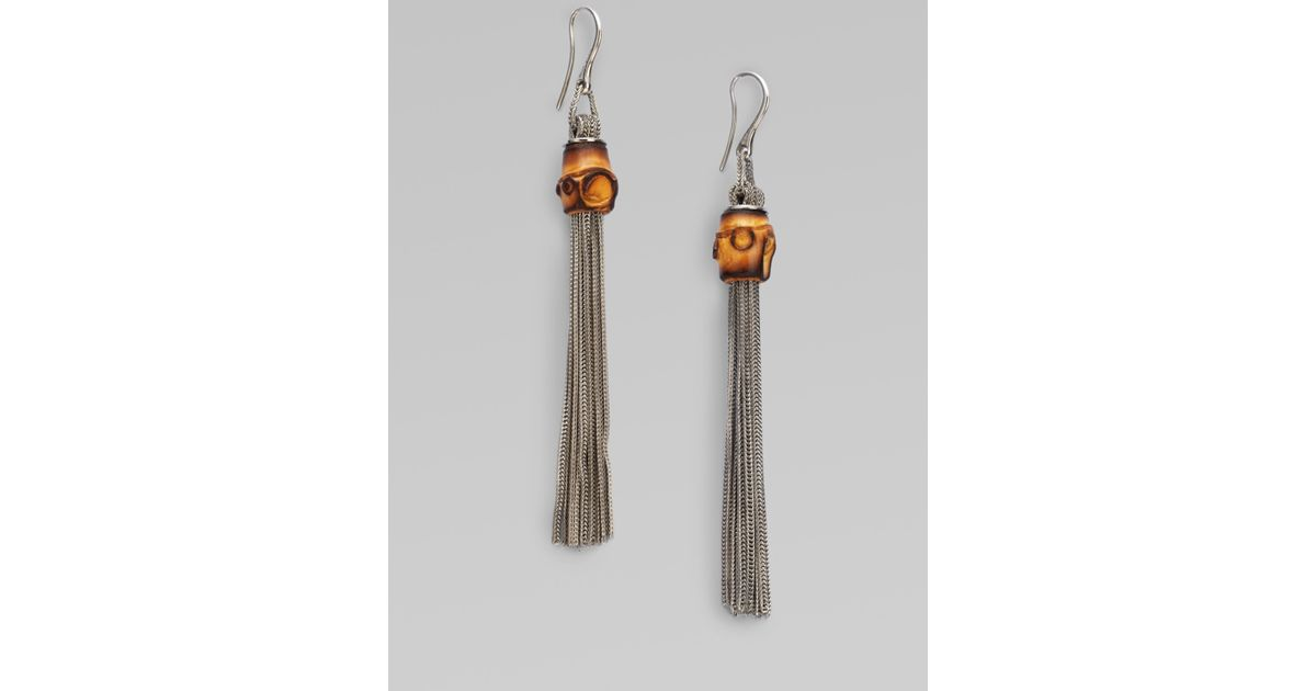 570378401eb Lyst - Gucci Bamboo Sterling Silver Foxtail Tassel Earrings in Metallic