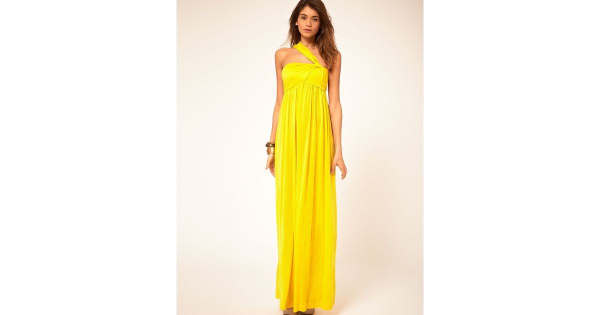 Miss Sixty Maxi Dress With Asymmetric Straps In Yellow