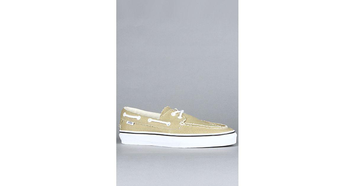 4be982e7fe5 Lyst - Vans The Zapato Del Barco in Khaki   True White in Natural for Men