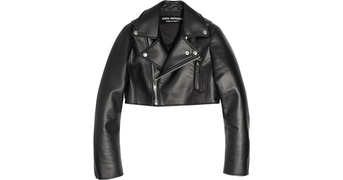 16d766362 Junya Watanabe Black Cropped Faux Leather Biker Jacket