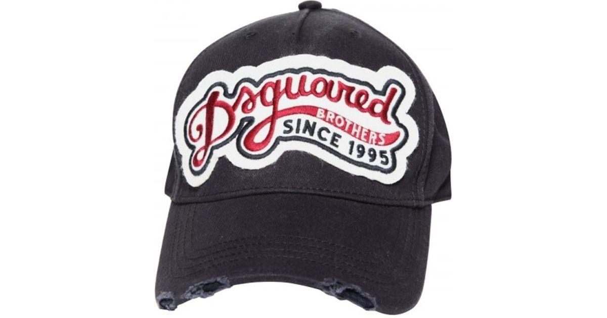 c6b88c3f2ecc10 Lyst - Dsquared² Distressed Gabardine Baseball Hat in Blue for Men
