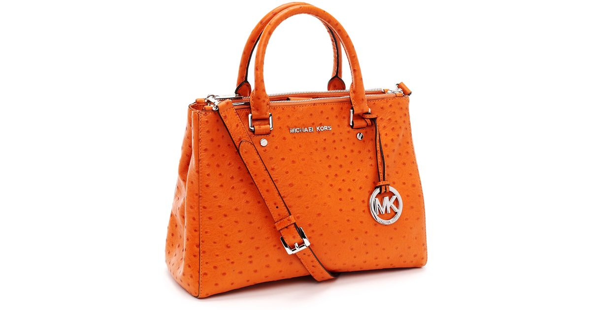 7fd377ca47 MICHAEL Michael Kors Medium Bedford Ostrich Embossed Dressy Tote in Orange  - Lyst