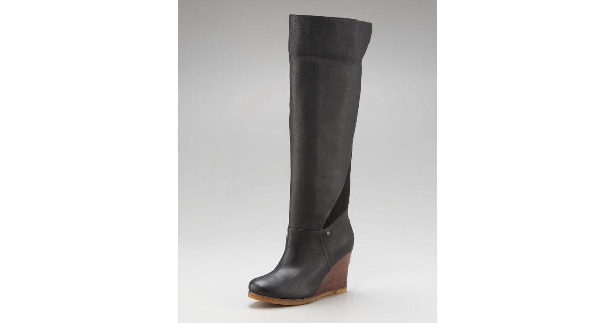 b2536cc7347c Lyst - UGG Ravenna Cuffable Wedge Boot in Black