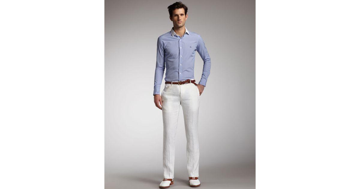 Polo ralph lauren Carrington Linen Pants in White for Men   Lyst