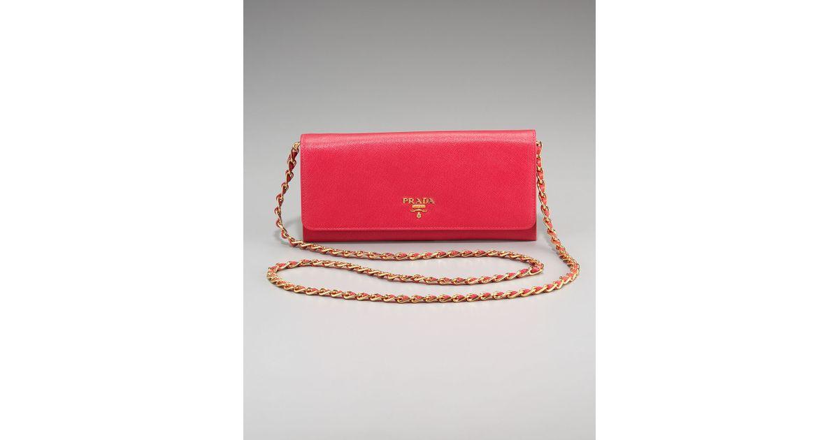 prada tan bags - Prada Saffiano Chain Crossbody Wallet in Red (black)   Lyst