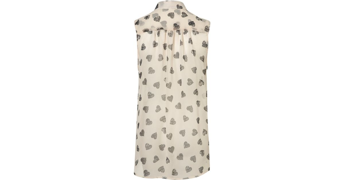 02321769fbfe7 Lyst - TOPSHOP Scratchy Heart Drop Back Shirt in Natural
