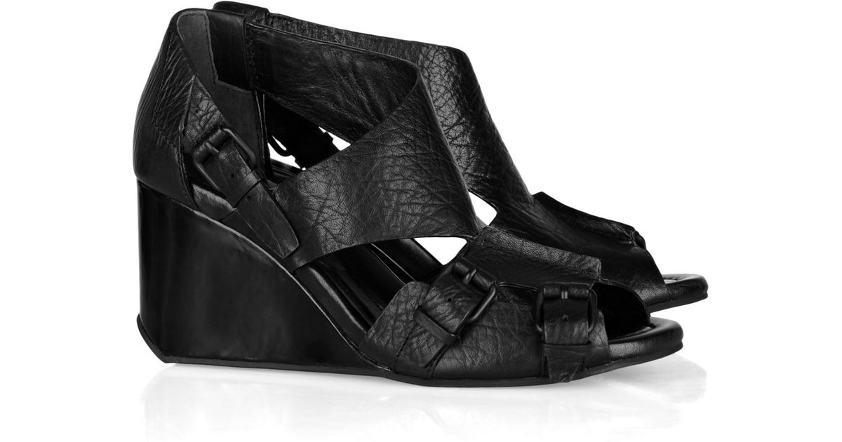 Black Alexander Mia Wang Wedge Sandals Leather 0wPnkO8