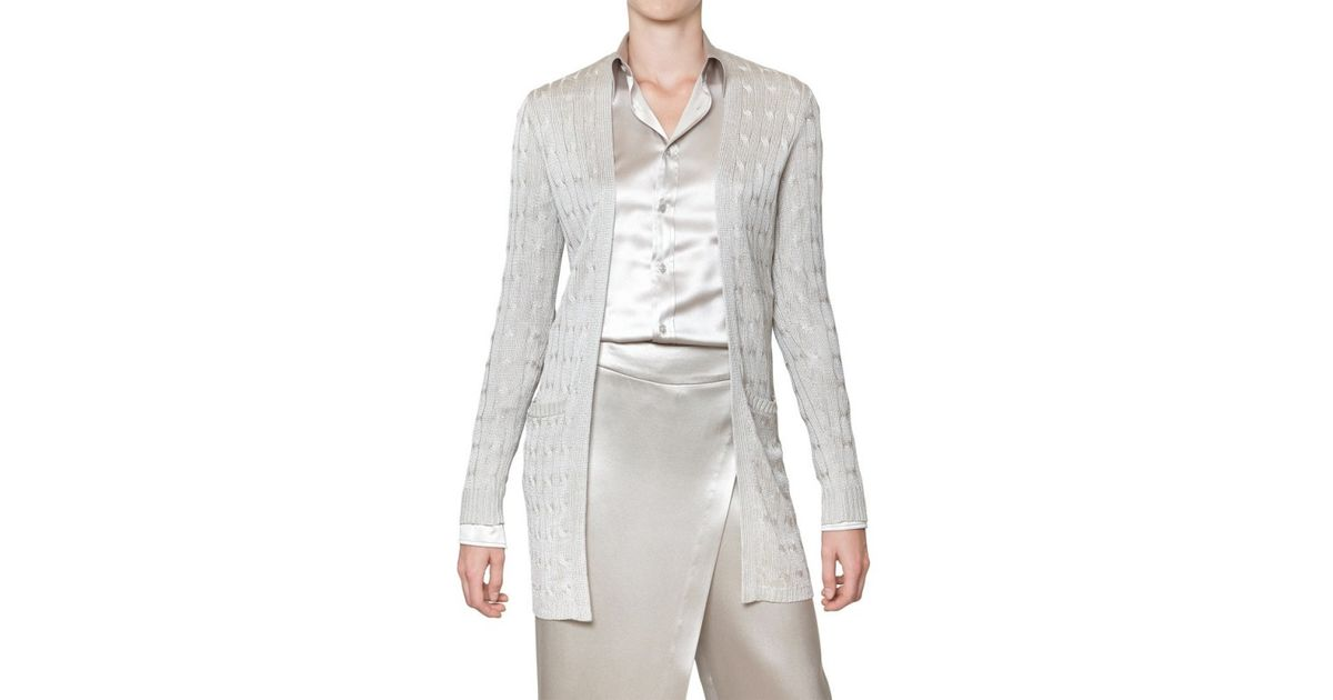 0fe4089ff23744 Ralph Lauren Black Label Silk Cable Knit Cardigan in Metallic - Lyst