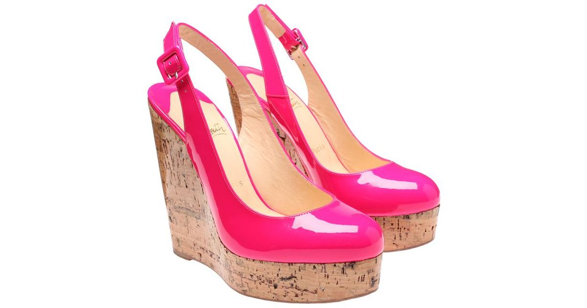 b78597ced0b9 ... wholesale christian louboutin altike patent leather and cork platform  wedges in pink lyst f4752 c21a5