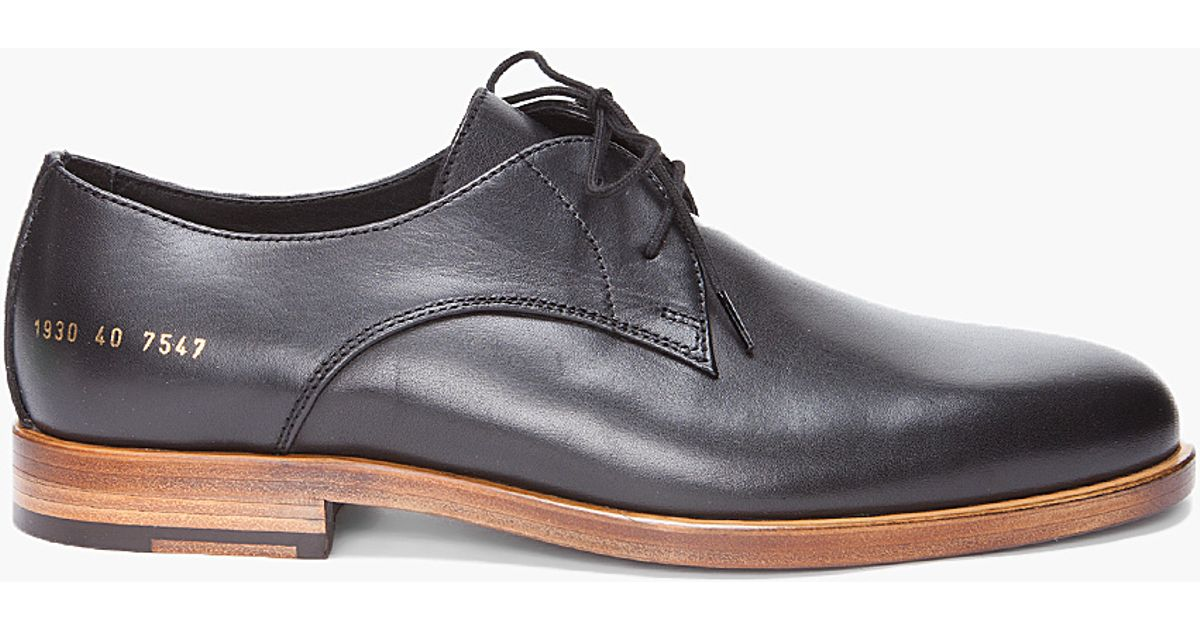 cbccbcadd104 Lyst - Common Projects Black Officers Derby Shoes in Black for Men