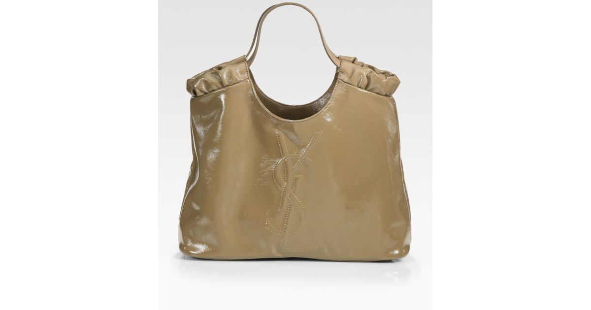 8e0163866e Lyst - Saint Laurent Ysl Belle De Jour Medium Patent Leather Shopping Bag  in Brown