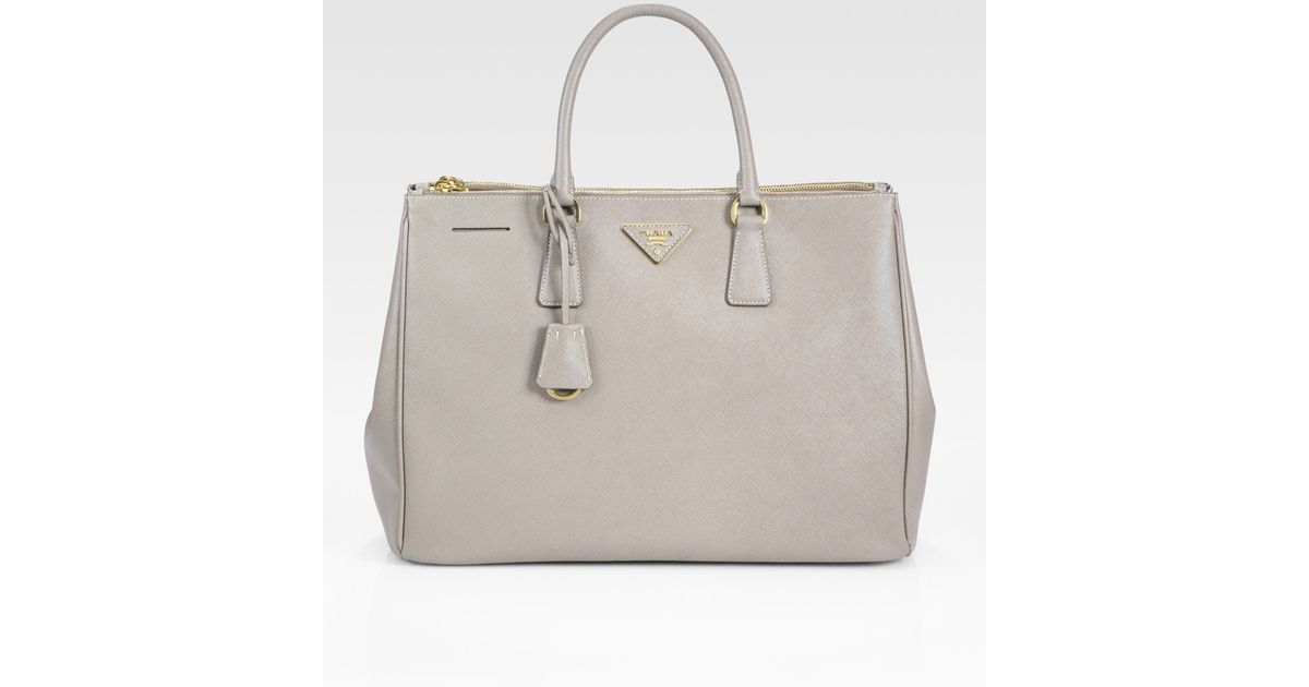 104728261af4 Lyst - Prada Saffiano Lux Double-zip Tote Bag in Gray
