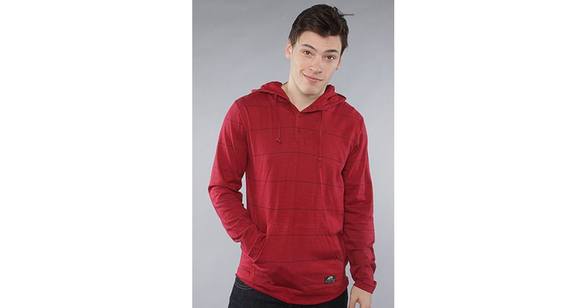 3fd5e85a Lyst - Vans The Occulta Horizontal Stripe Henley Hoody in Redrum in Red for  Men
